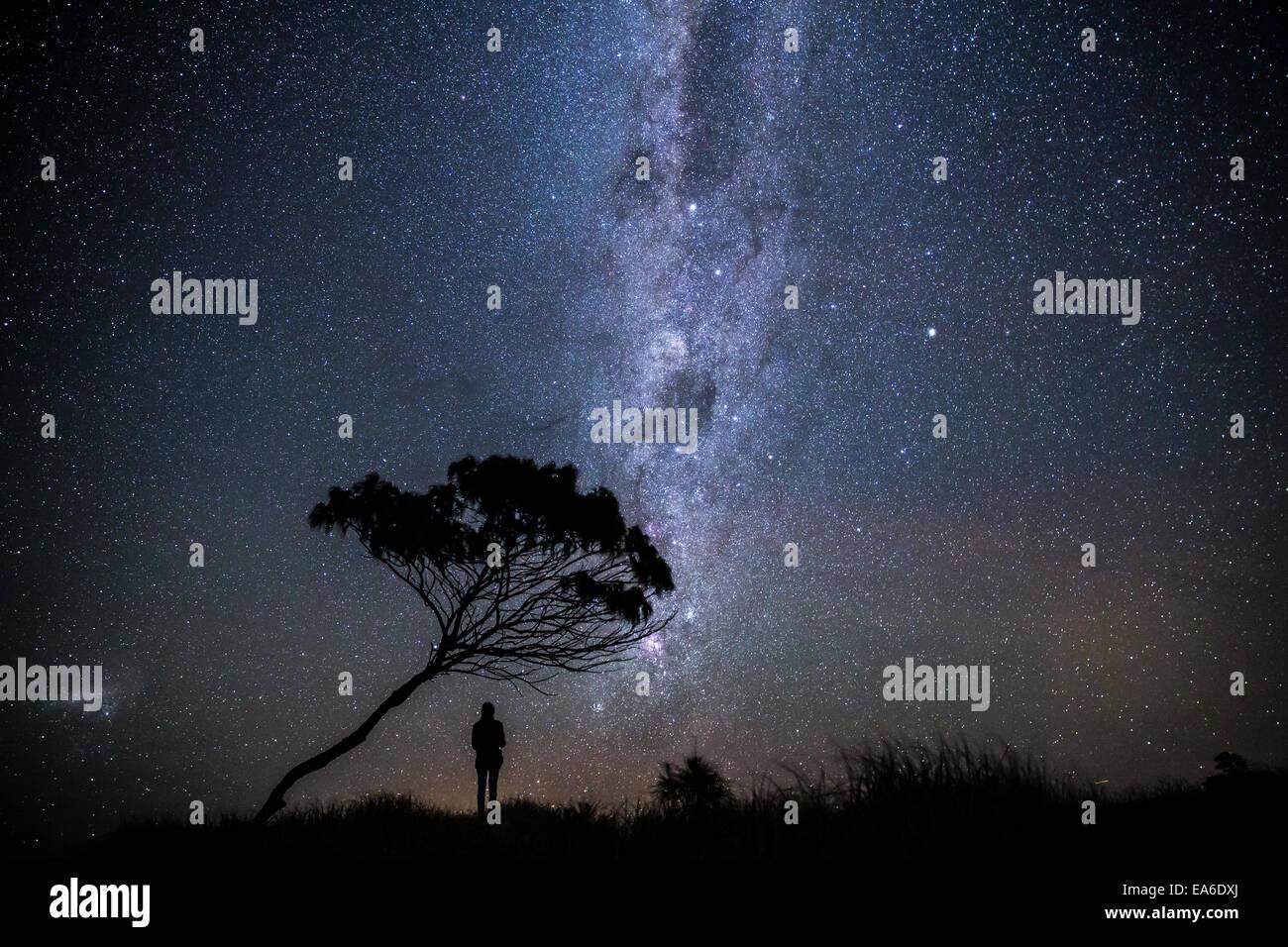 Australia, Yamba, Man standing under stars at night - Stock Image