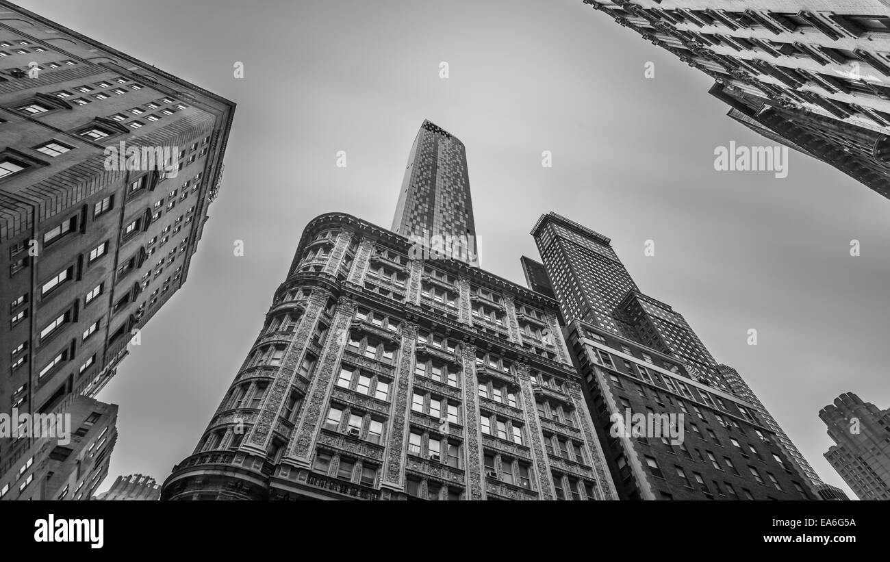 USA, New York State, New York City, Manhattan, Low angle view of buildings - Stock Image