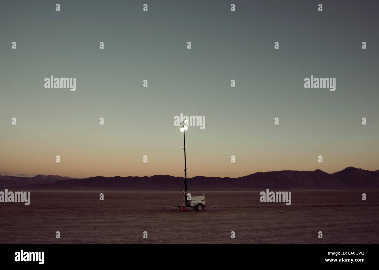 Lamp in middle of desert, Nevada, America, USA - Stock Image