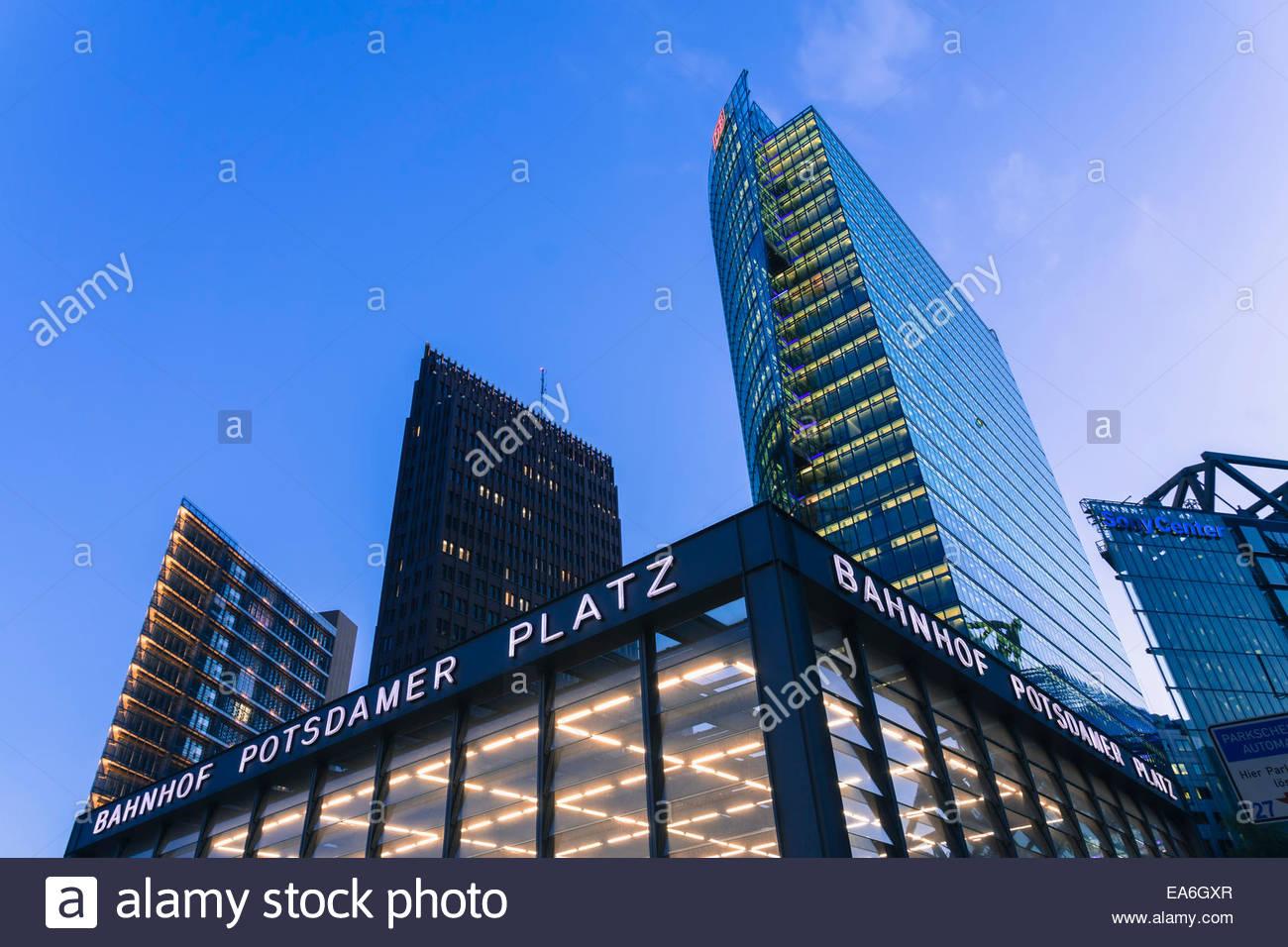 Germany, Berlin, Office buildings at Potsdamer Platz - Stock Image