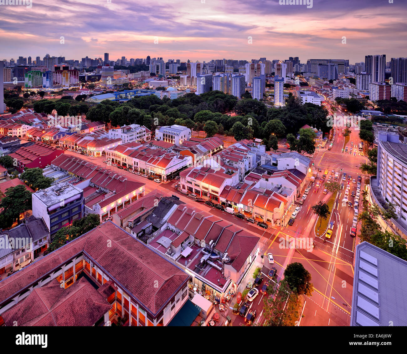 Singapore, City skyline at dusk - Stock Image