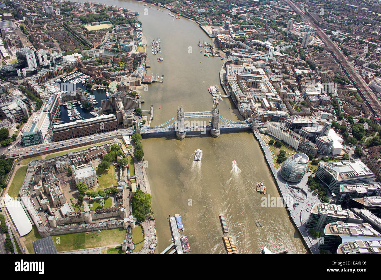 Aerial view of Tower Bridge and city, London, England, UK - Stock Image