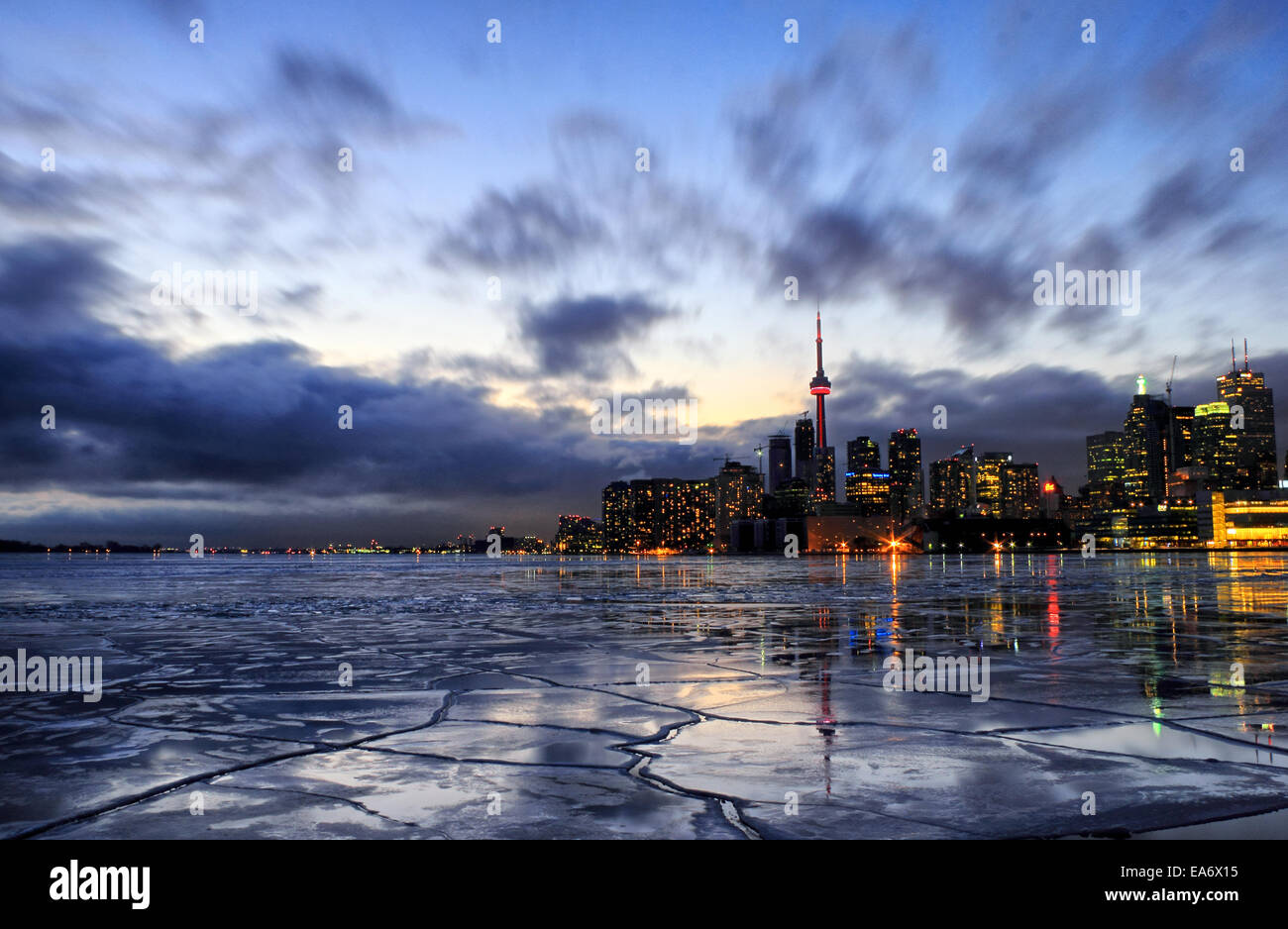 Toronto Harbour frozen with ice in cold January of 2014. Toronto experienced a very long and cold winter due to - Stock Image