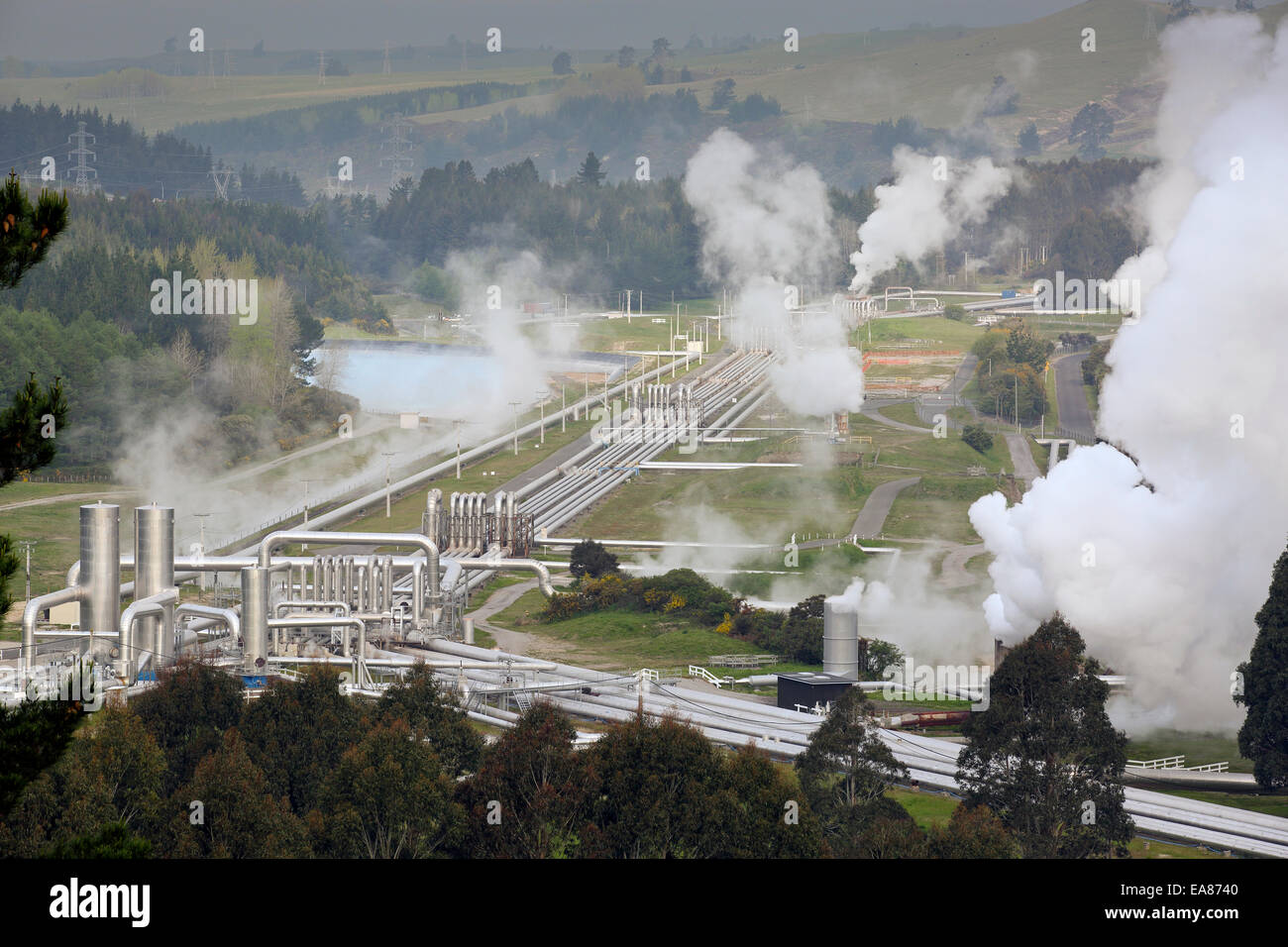 Wairakei Power Station, a geothermal (wet steam) power station in Taupo, New Zealand - Stock Image