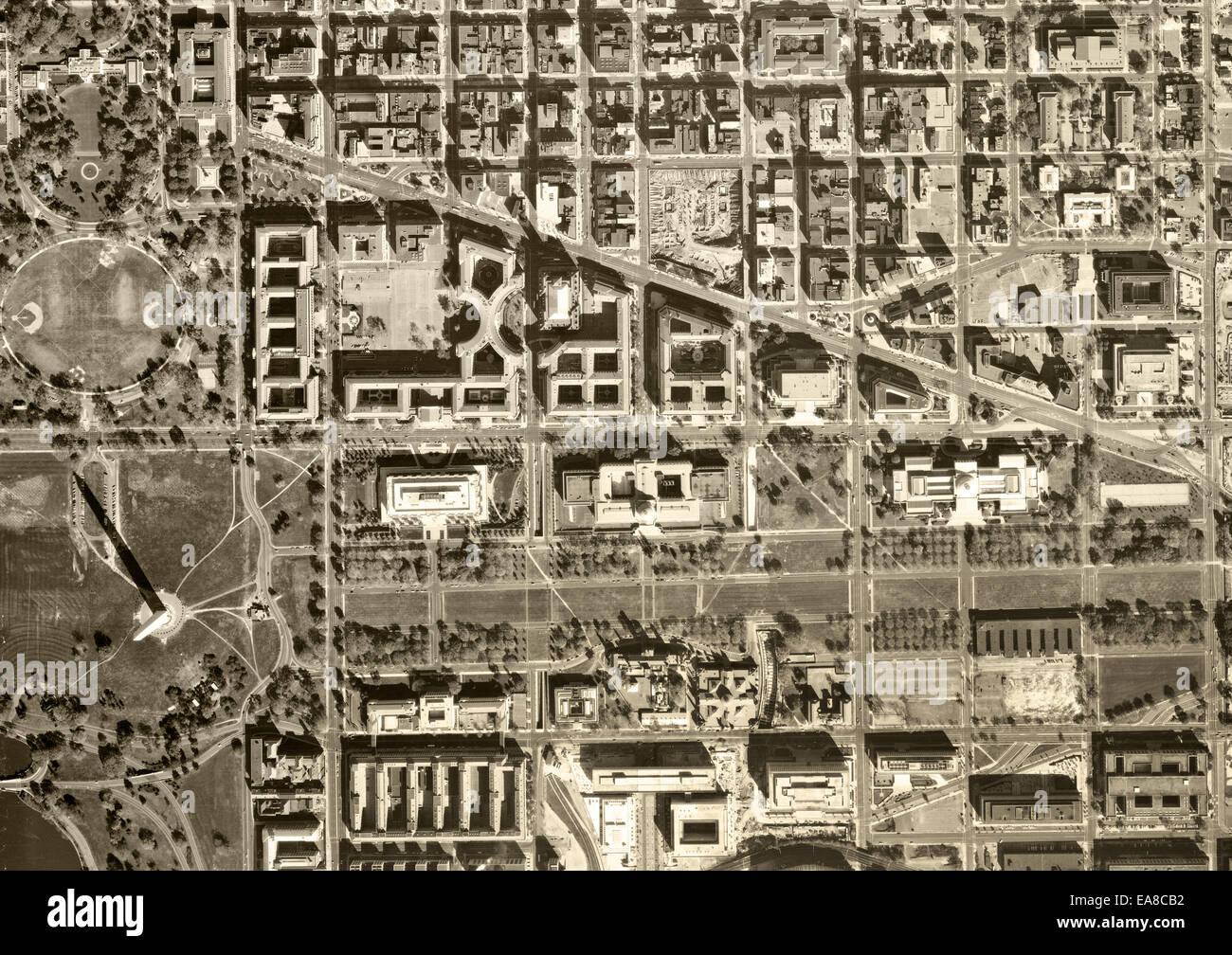 historical aerial photograph of Capitol Mall, Washington Monument, Washington, DC, 1968 - Stock Image