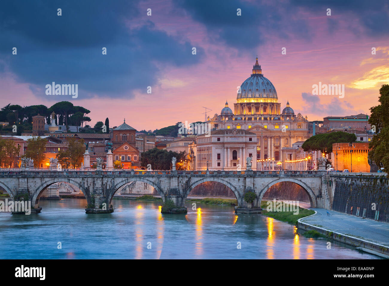View of St. Peter's cathedral in Rome, Italy during beautiful sunset. - Stock Image