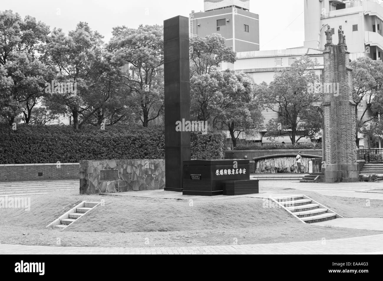 Ground zero memorial at epicenter of atomic explosion,Nagasaki prefecture,Kyushu,Japan - Stock Image