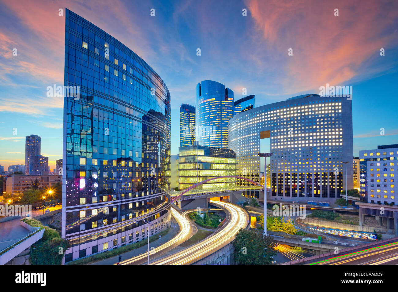 Image of office buildings in modern part of Paris- La Defense during sunset. - Stock Image