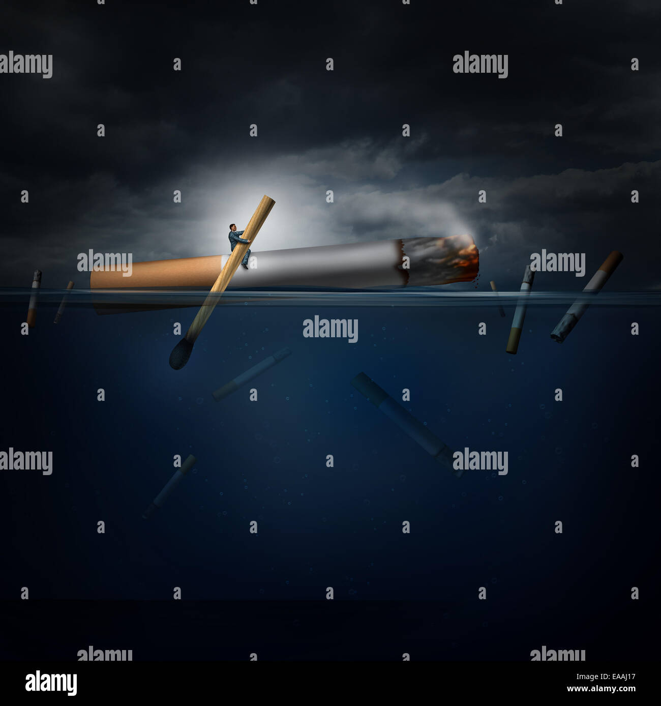 Smoking hazard concept as a person on a dangerous journey in an ocean rowing a giant cigarette with a match as a - Stock Image