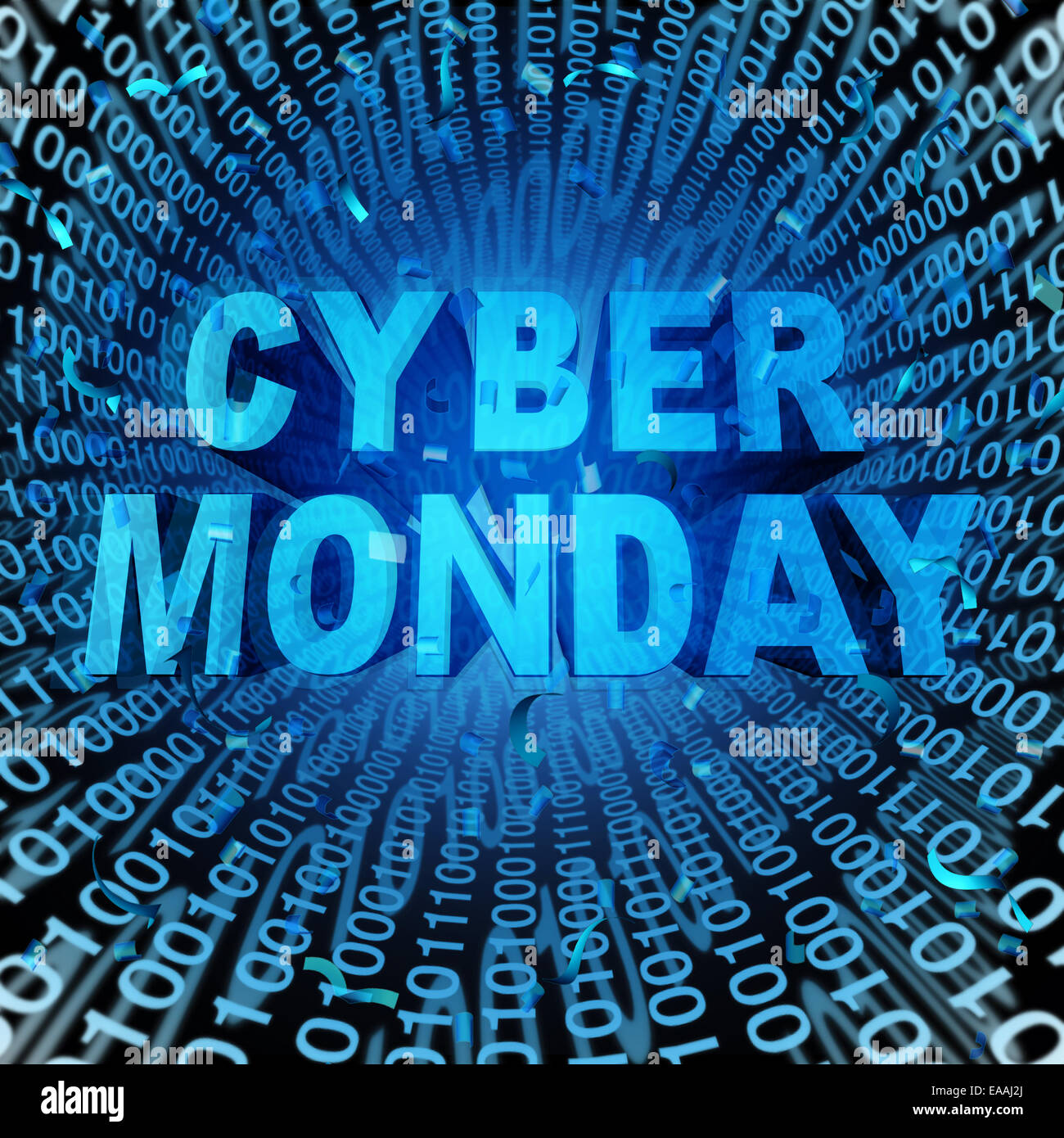 Cyber monday sale symbol and online sales concept as an internet holiday celebration for product discounts on websites. - Stock Image