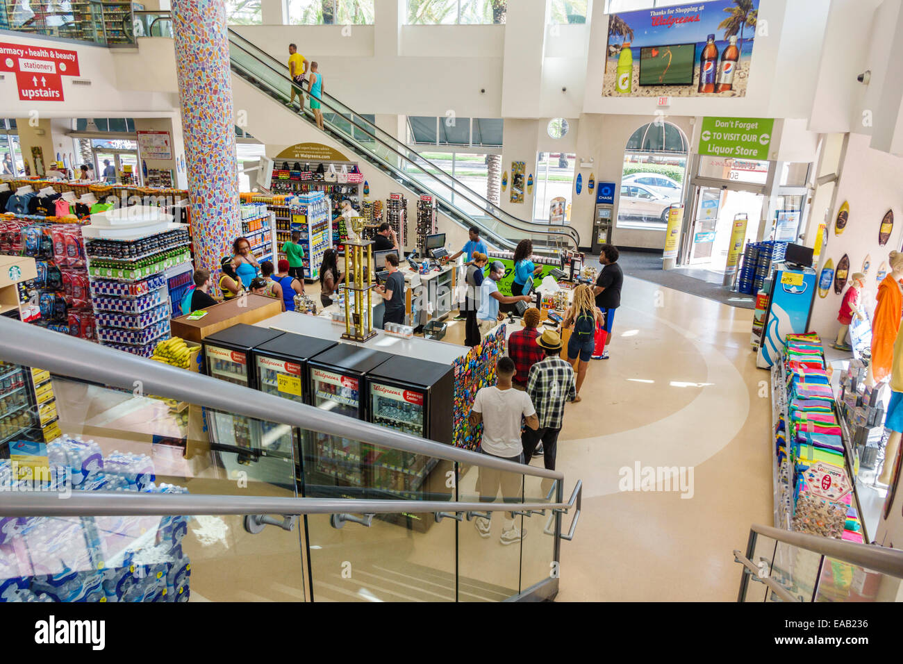 795cf15886 Miami Beach Florida Walgreens pharmacy drugstore inside interior check-out  line queue cashier customers retail