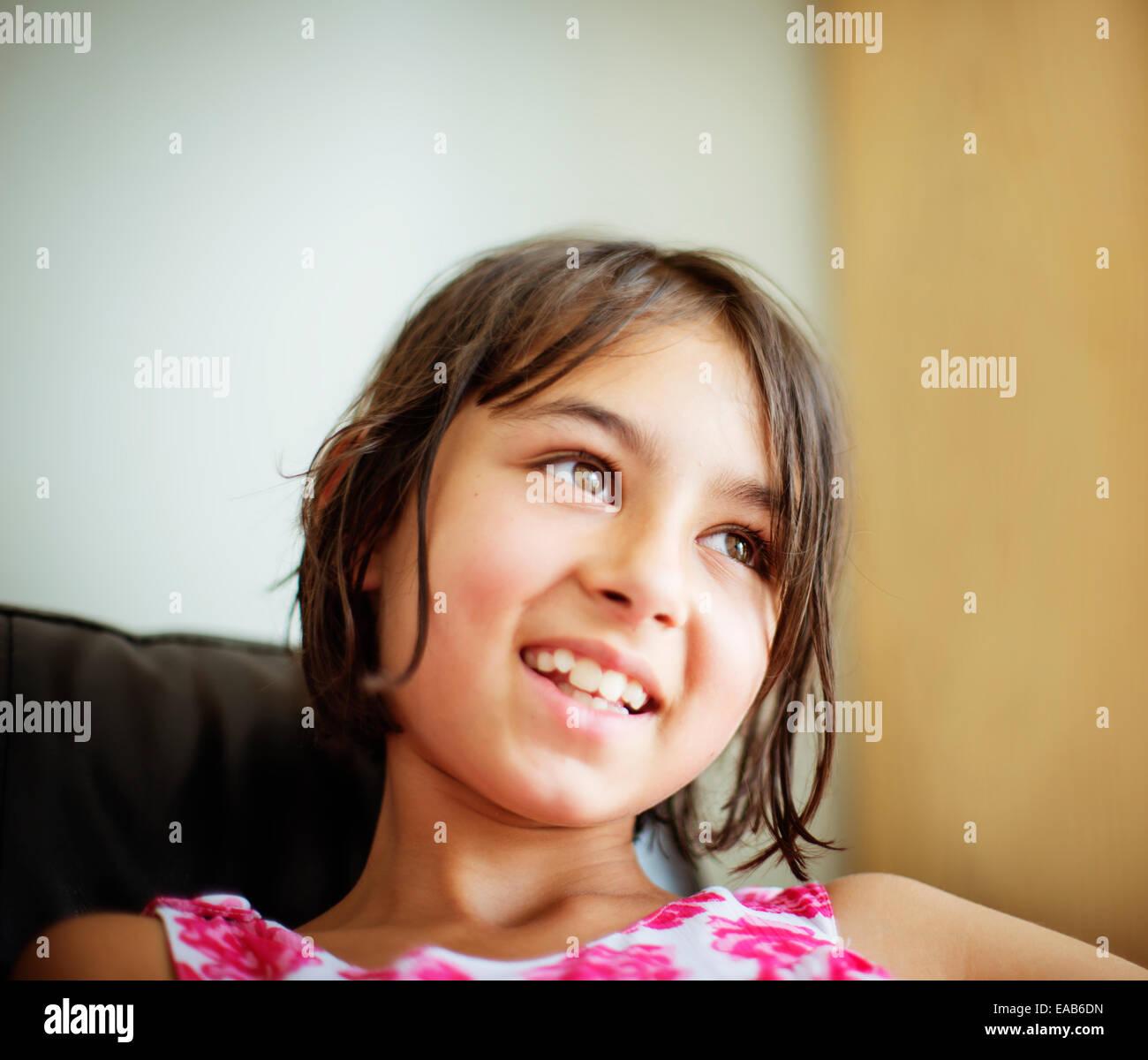 Smiling girl portrait - Stock Image