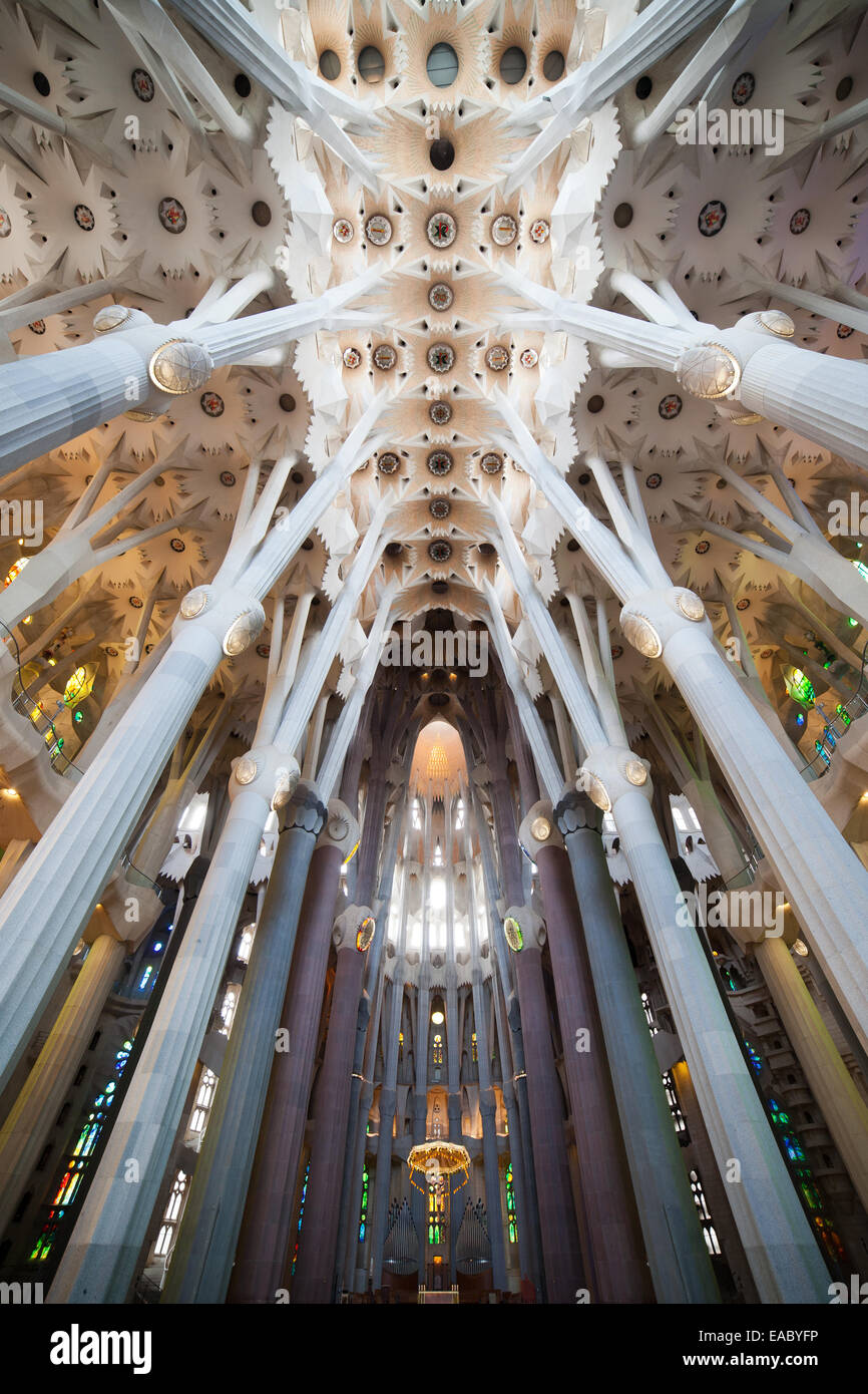 Sagrada Familia interior by Antoni Gaudi design in Barcelona Stock