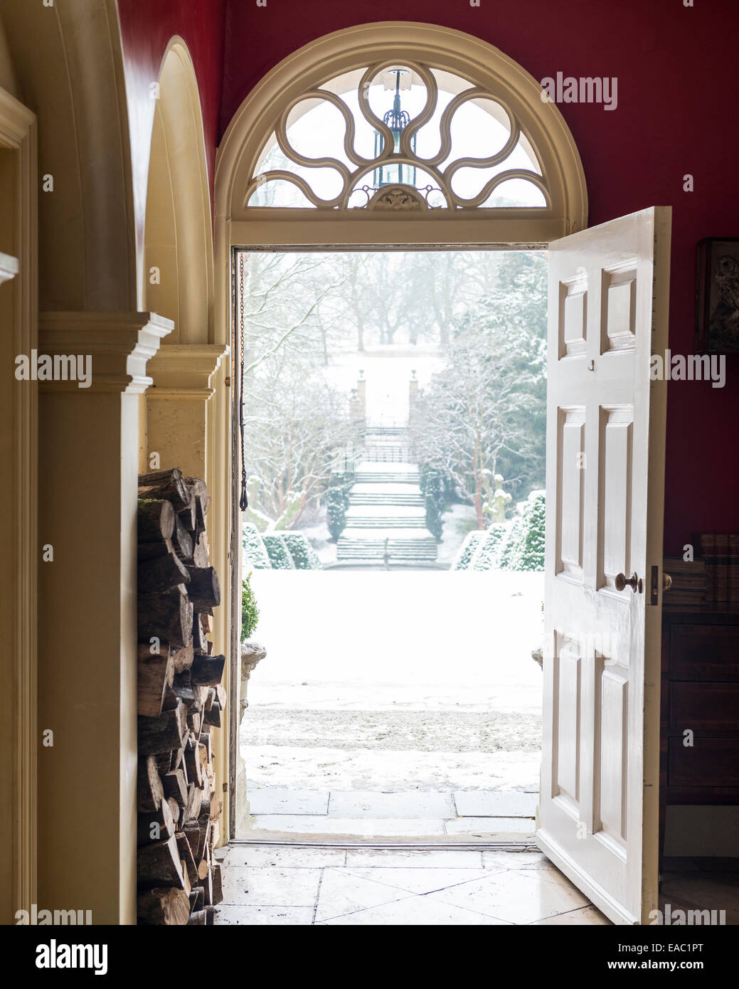 looking out door. View Looking Out Of Open Front Door With Fan Light To Snowy Garden Path L