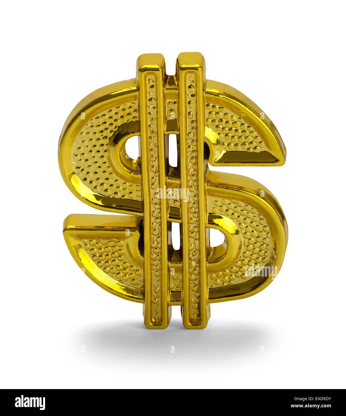 Gold Dollar Symbol Isolated On White Background Stock Photo