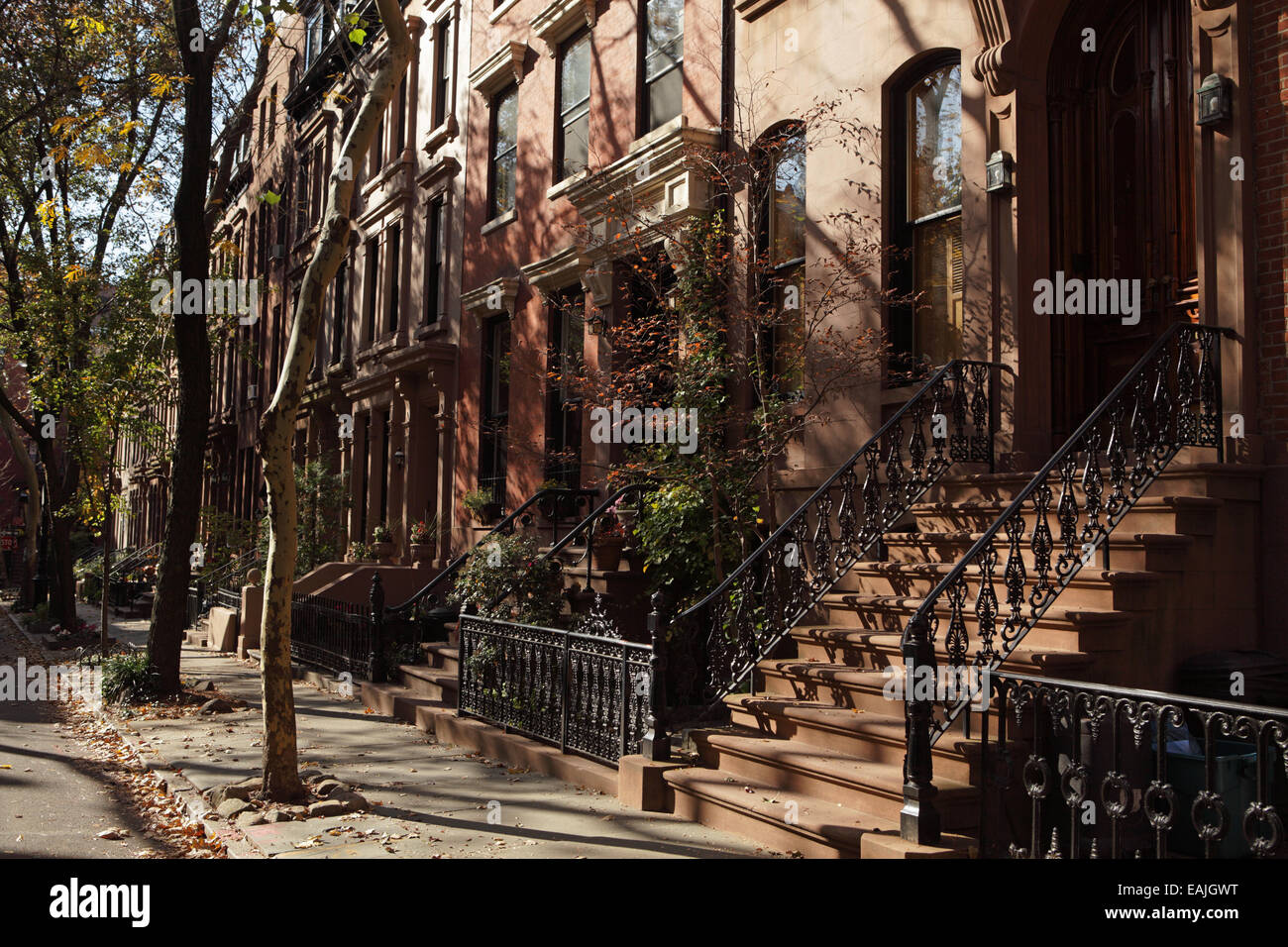 View of brownstone houses on Garden Place in Brooklyn Heights Stock ...