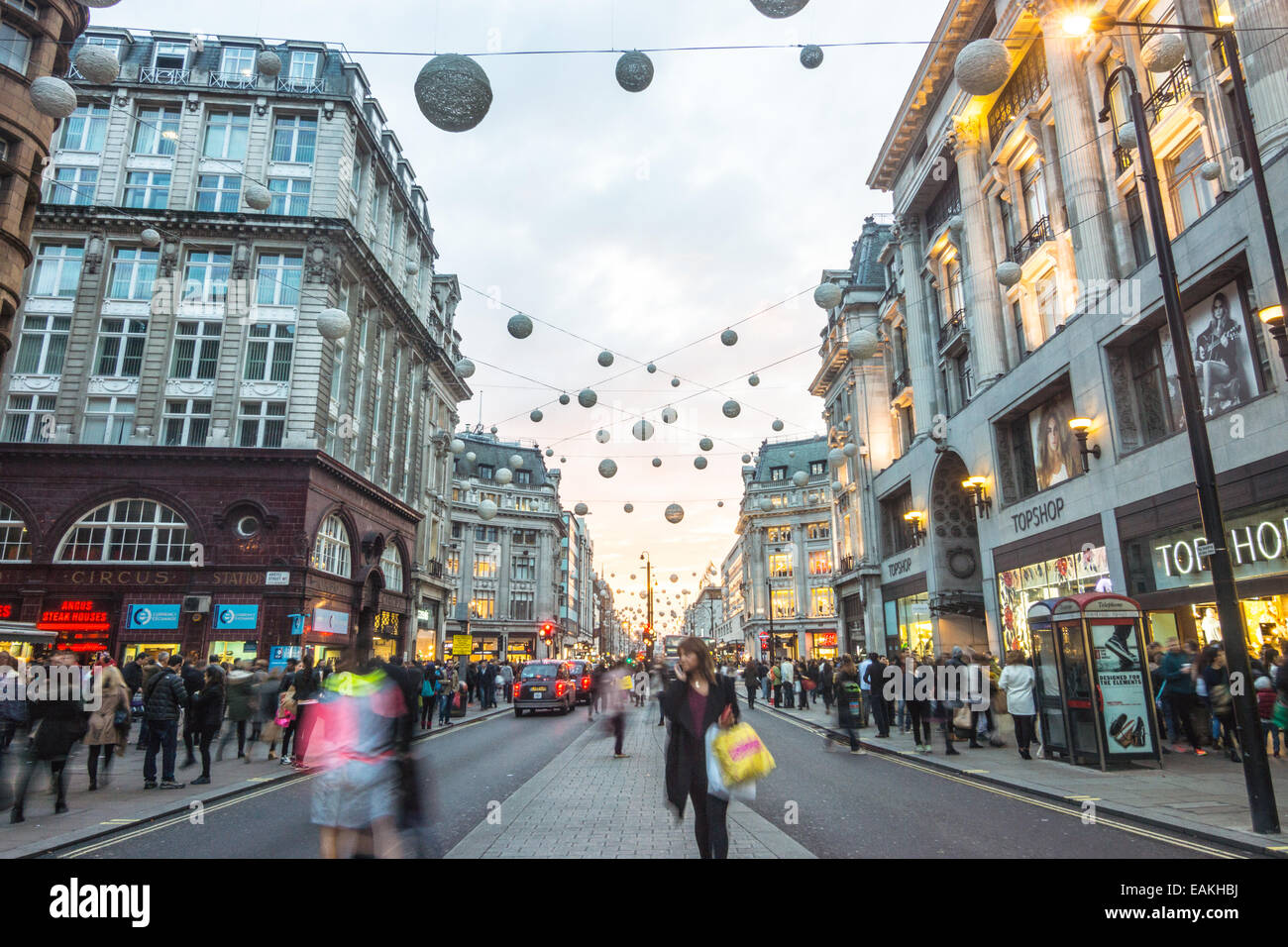 oxford street with shoppers Stock Photo