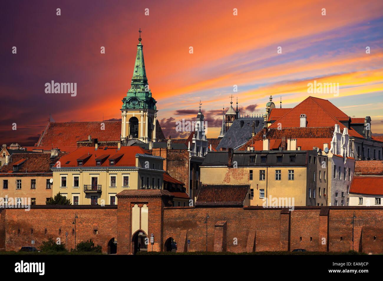 Sunset over old town of Torun, Poland. - Stock Image