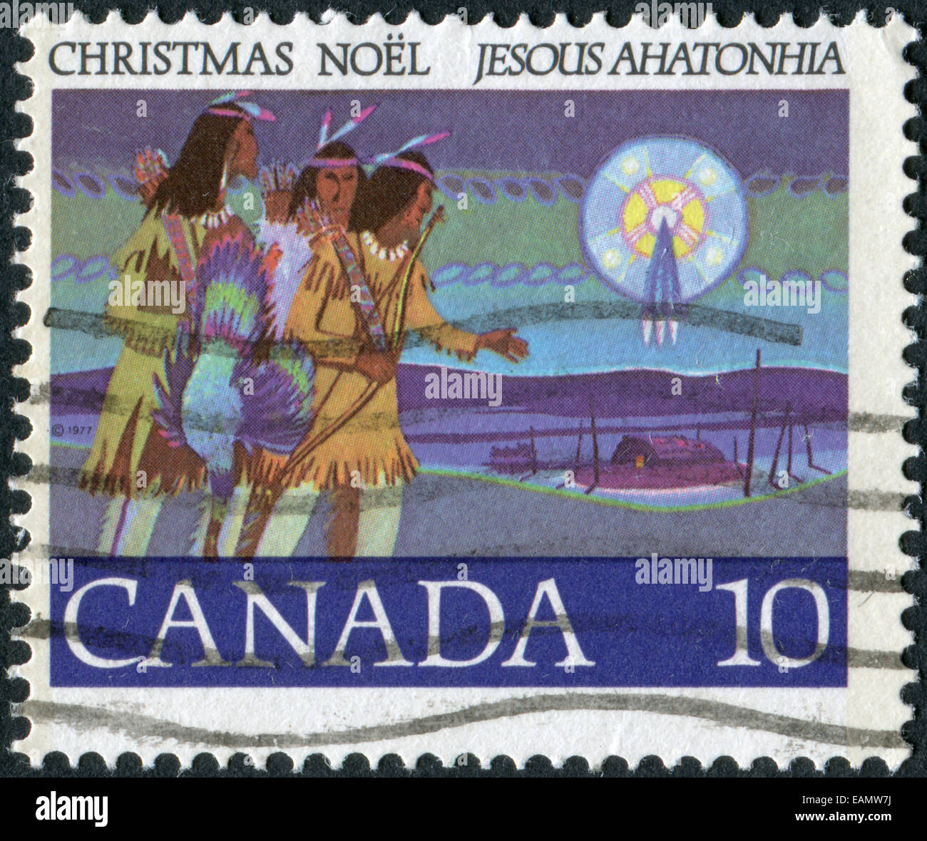 CANADA - CIRCA 1977: Postage stamp printed in Canada, Christmas Issue, portrayed Hunters Following Star, circa 1977 - Stock Image