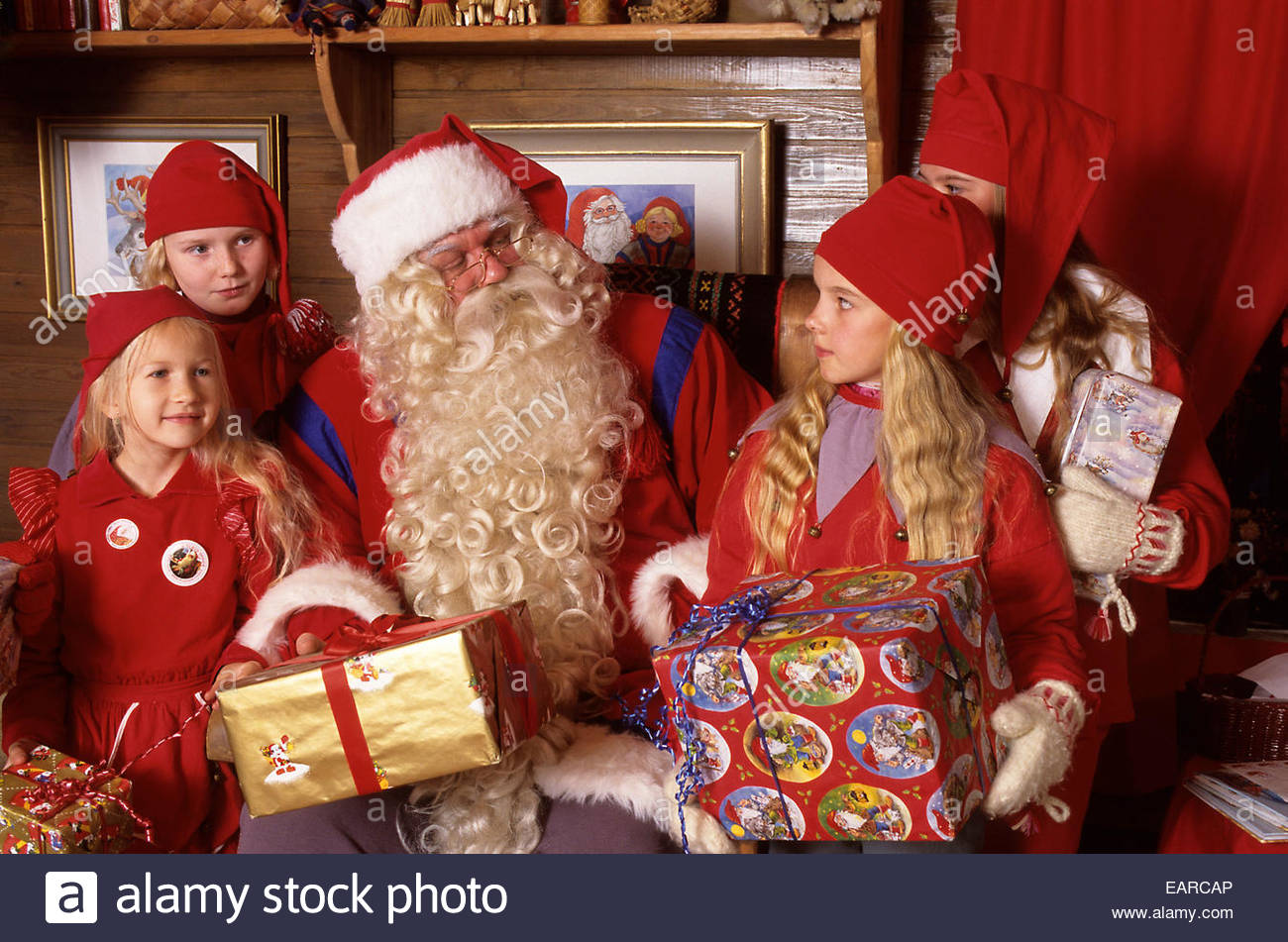 santa claus with children rovaniemi finland - Santa Claus Children