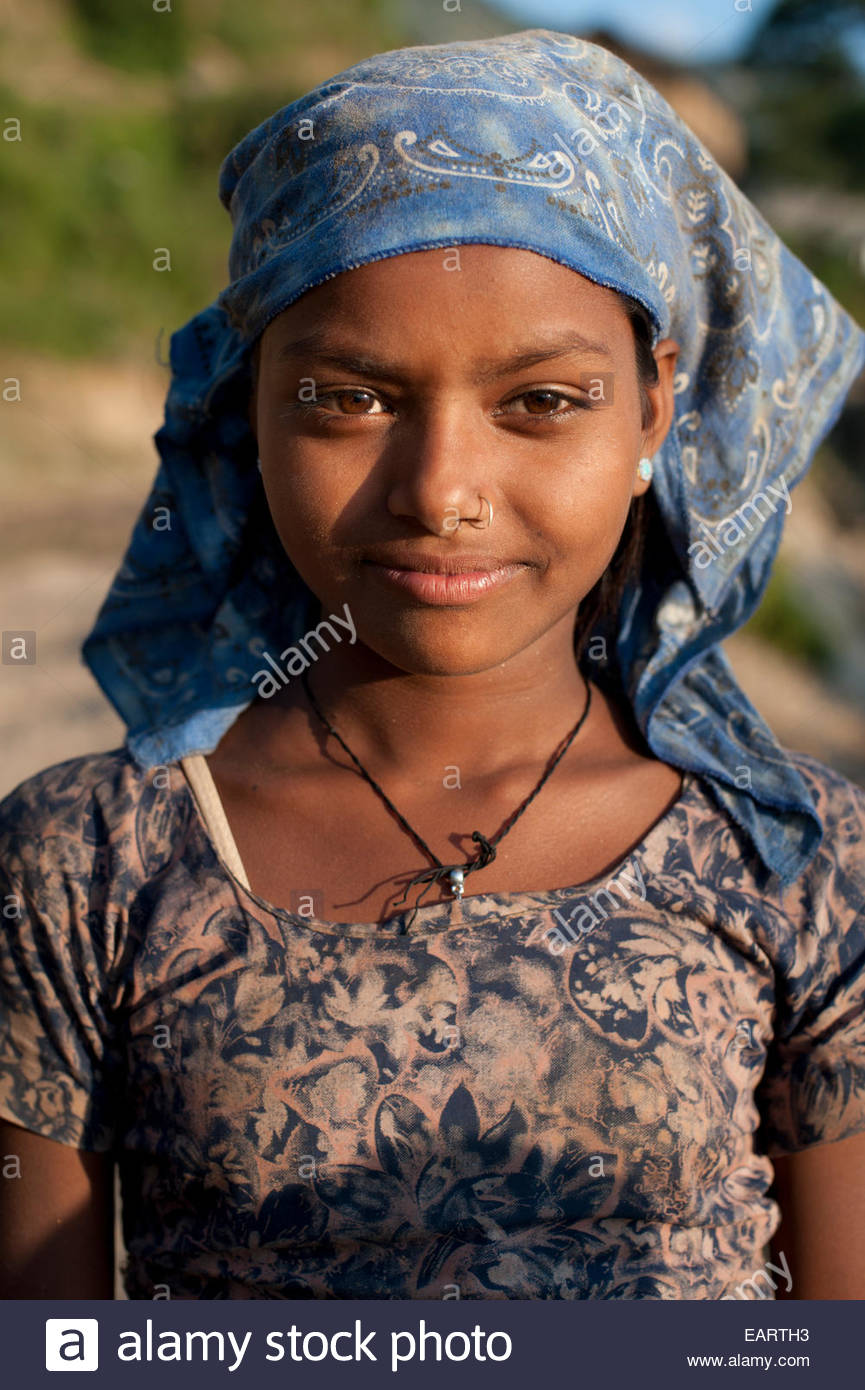 A Little Girl From A Rural Village In Western Nepal Stock