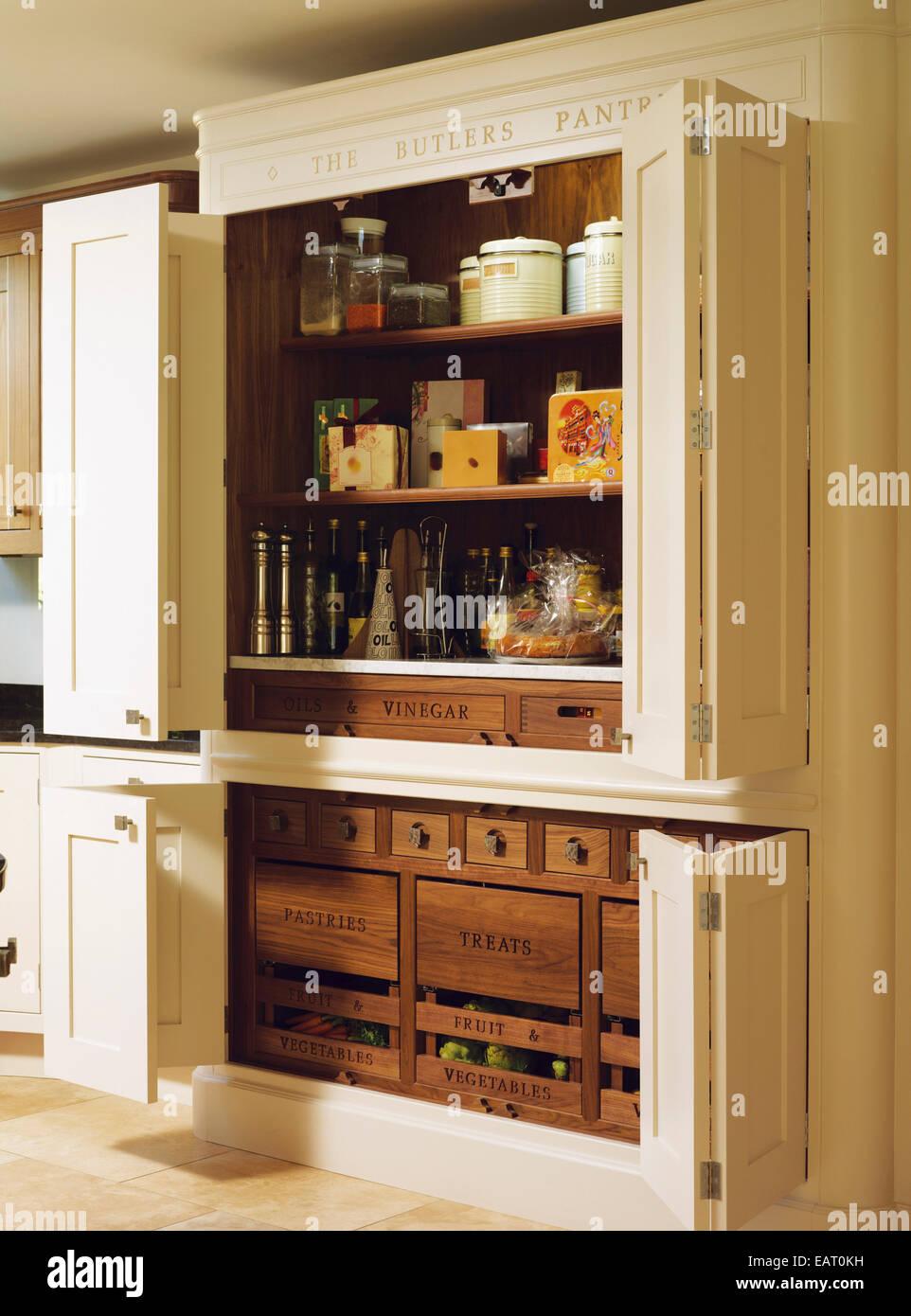 Built In Larder, Pantry Storage Unit With Doors Open