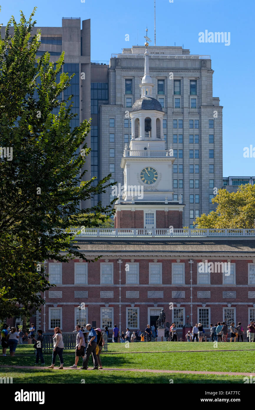 Independence Hall is the centerpiece of Independence National Historical Park in Philadelphia, Pennsylvania. - Stock Image