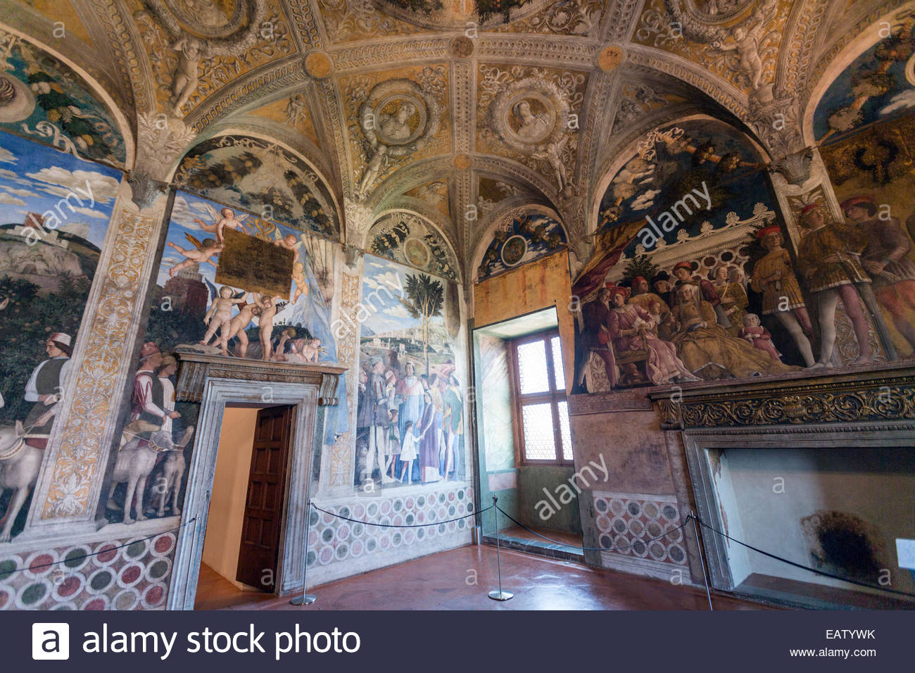 Camera degli Sposi, Ducal palace, with  frescoes executed by Andrea Mantegna. Stock Photo