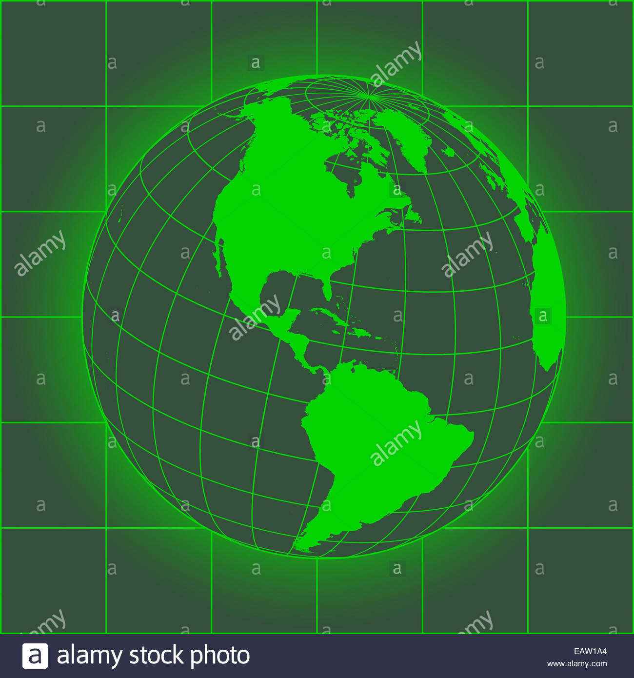 Green North America map. Europe, Greenland, North Pole, South Stock ...