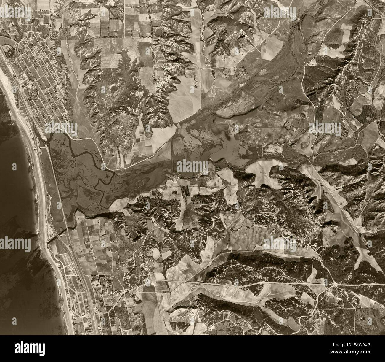 historical aerial photograph Encinitas, Solana Beach, San Diego County, California, 1947 - Stock Image