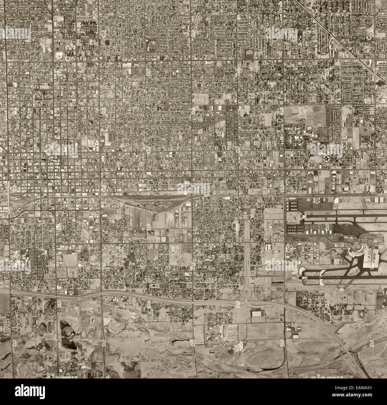 historical aerial photograph of Phoenix, Arizona, 1967 - Stock Image