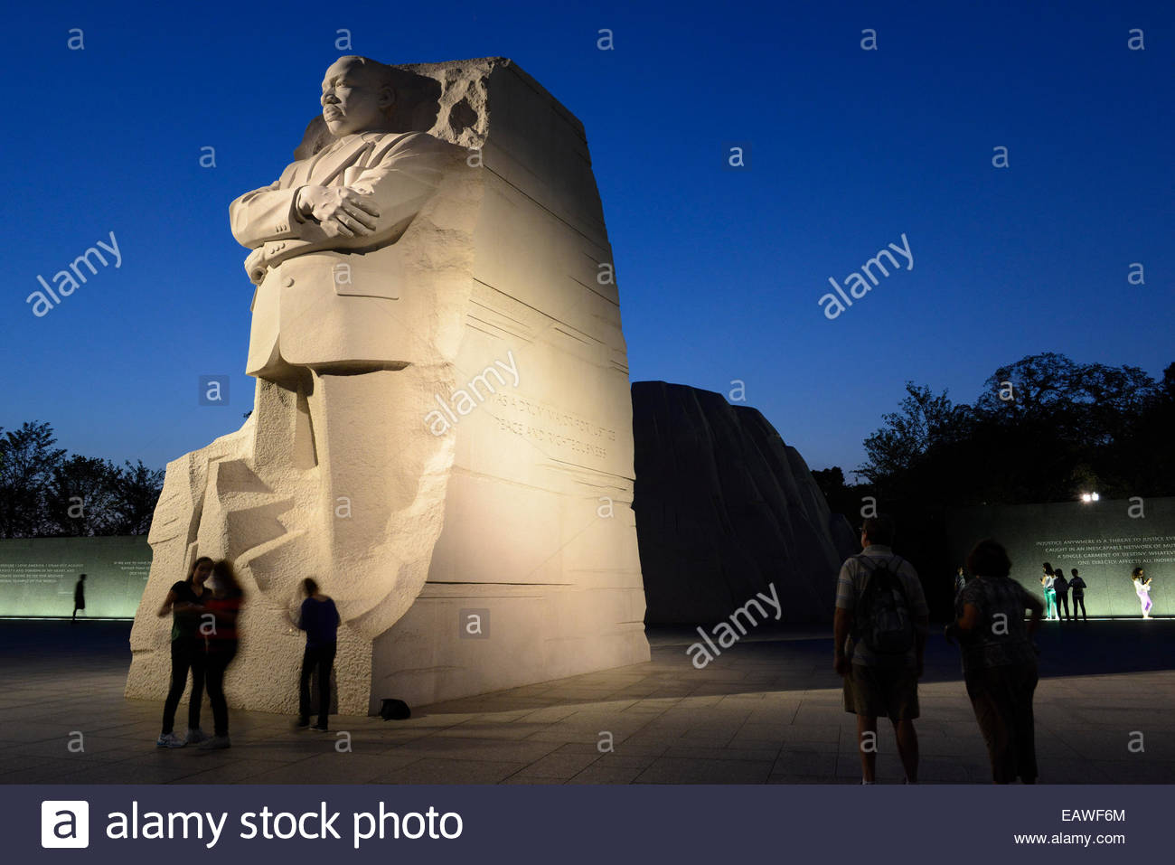 Visitors To The Martin Luther King Jr Memorial At Night Stock