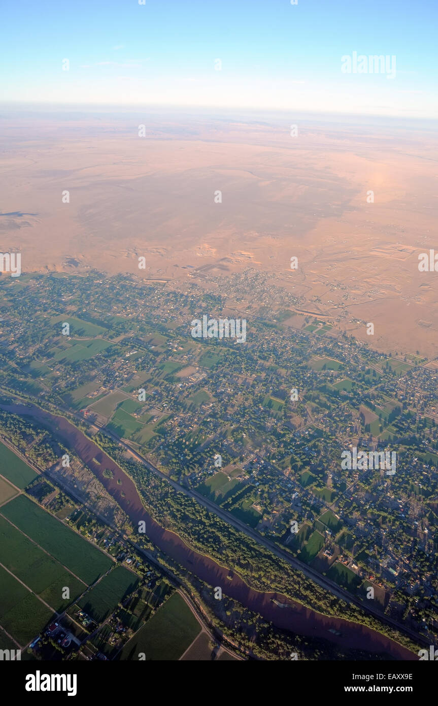 Life along a fertile river, Aerial - Stock Image