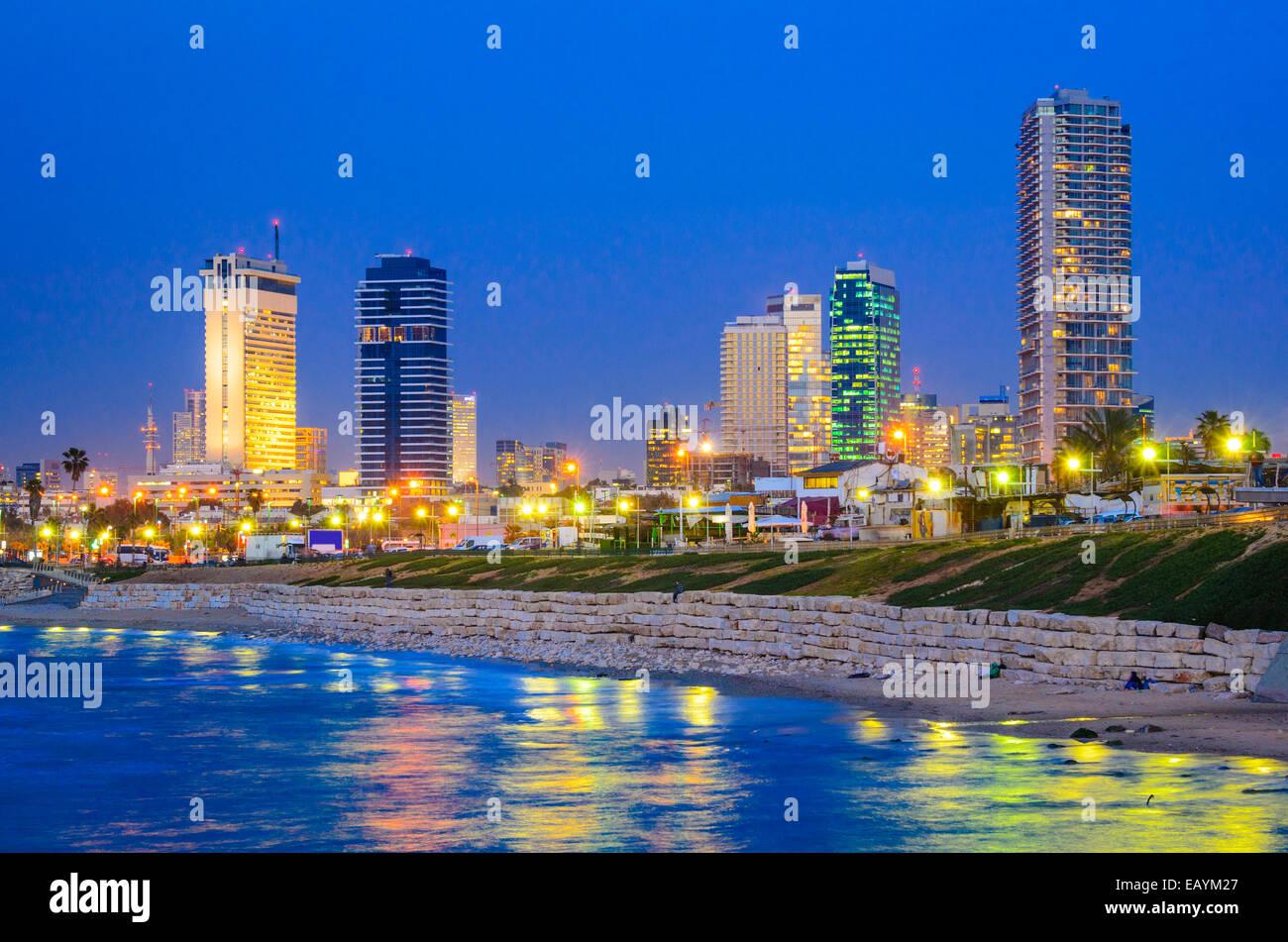 Tel Aviv, Israel Skyline on the Mediterranean. - Stock Image