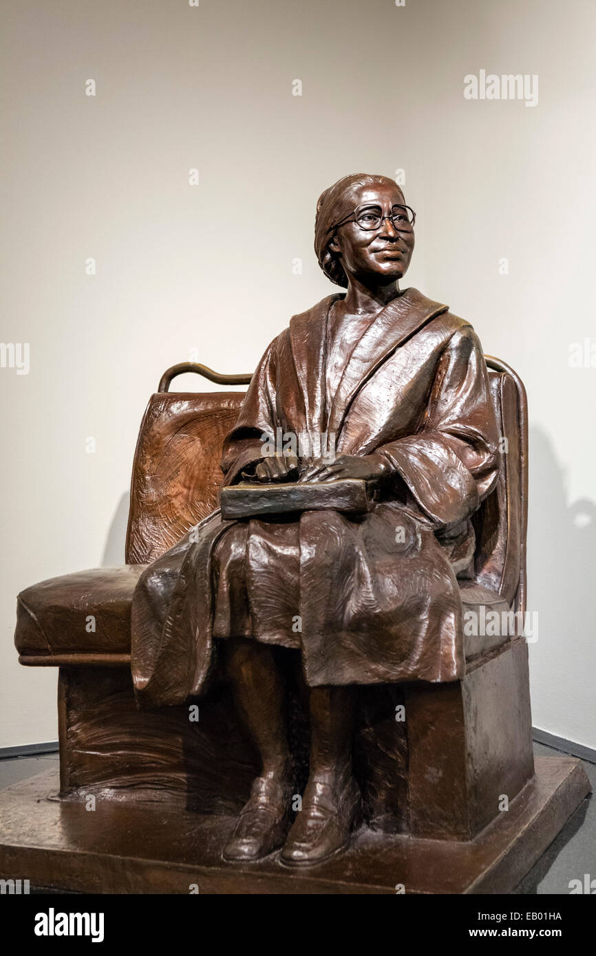 Sculpture of Rosa Parks in the Rosa Parks Museum and Library, Montgomery, Alabama, USA Stock Photo