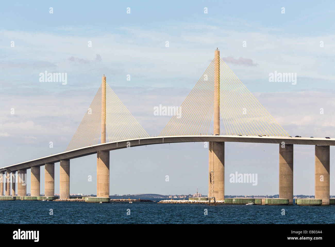 The bob graham sunshine skyway bridge spans tampa bay for Sunshine skyway fishing pier