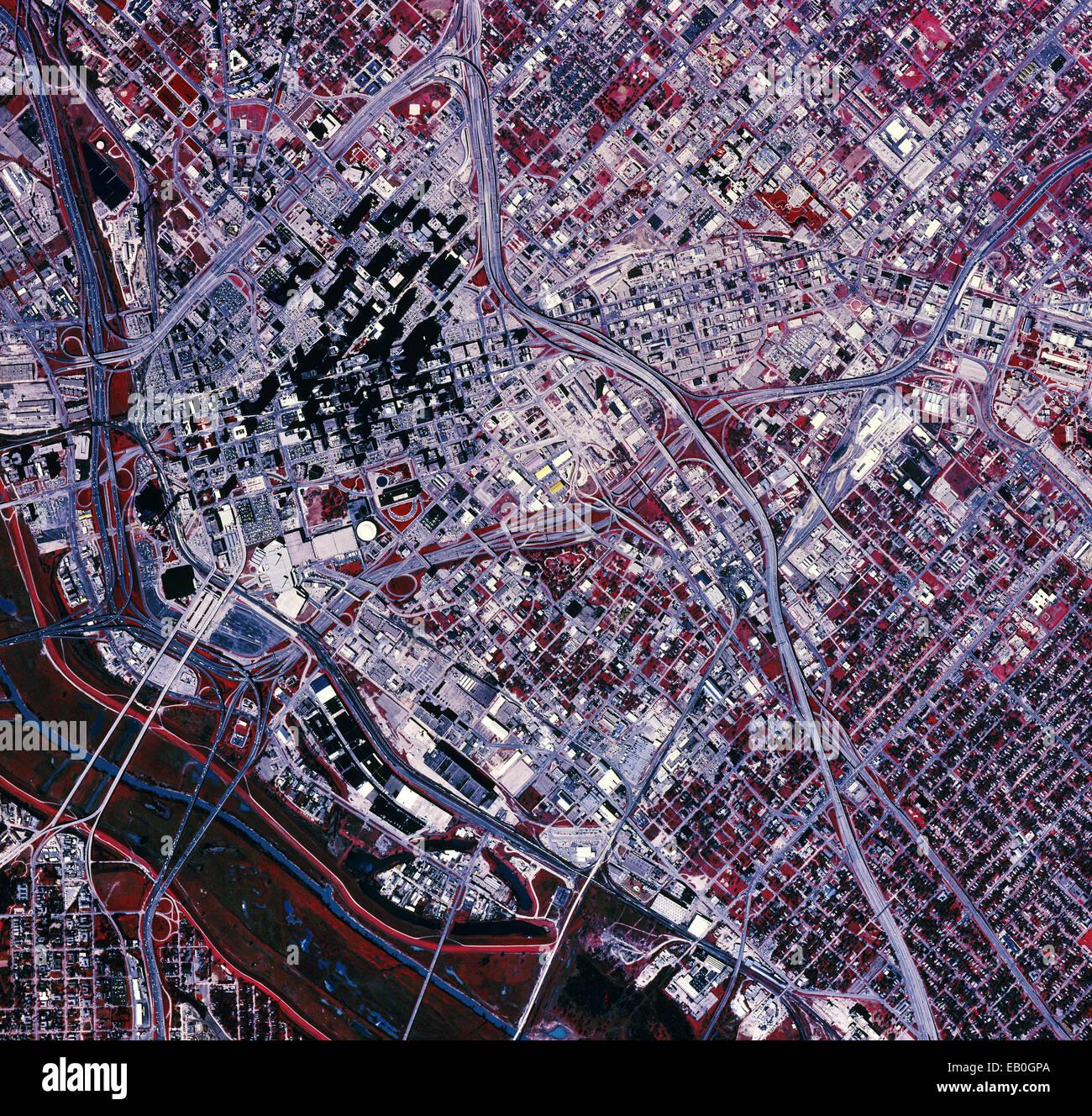 color infrared aerial photograph Dallas, Texas, 1995 - Stock Image