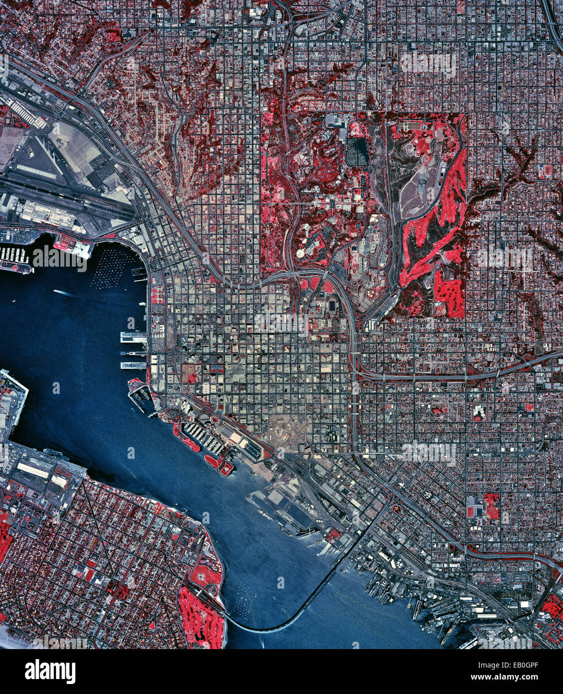 historical infrared aerial photograph of San Diego, California, 2002 - Stock Image