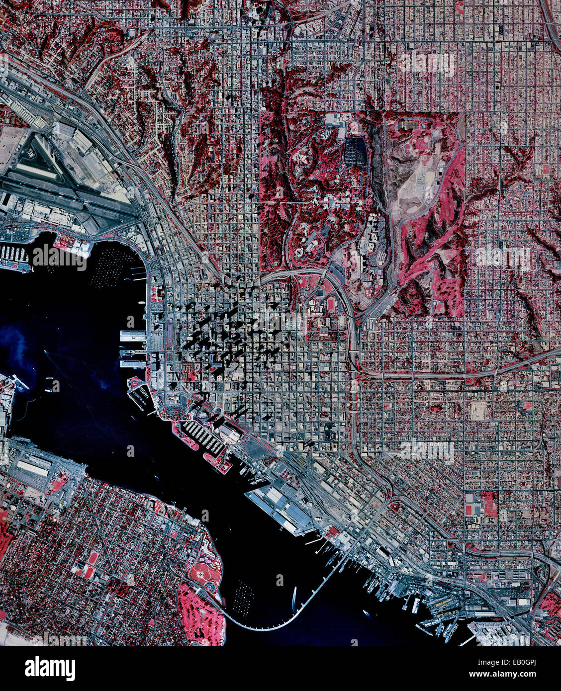 historical infrared aerial photograph of San Diego, California, 1996 - Stock Image