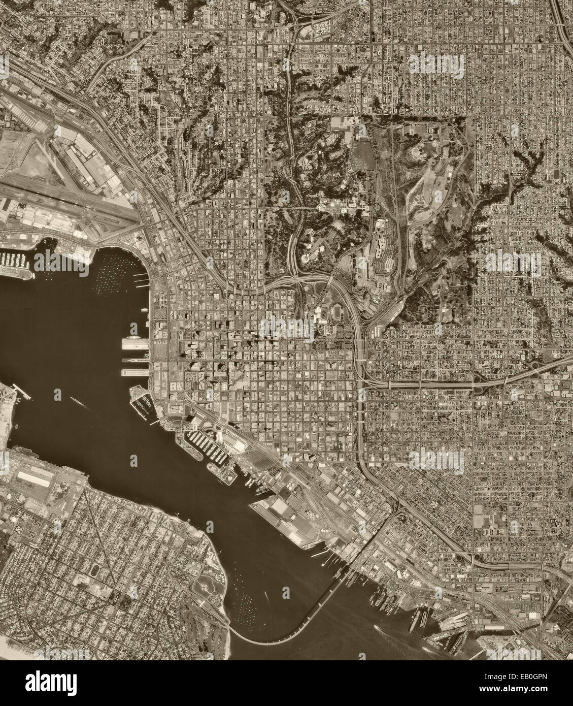 historical aerial photograph San Diego, California, 1994 - Stock Image