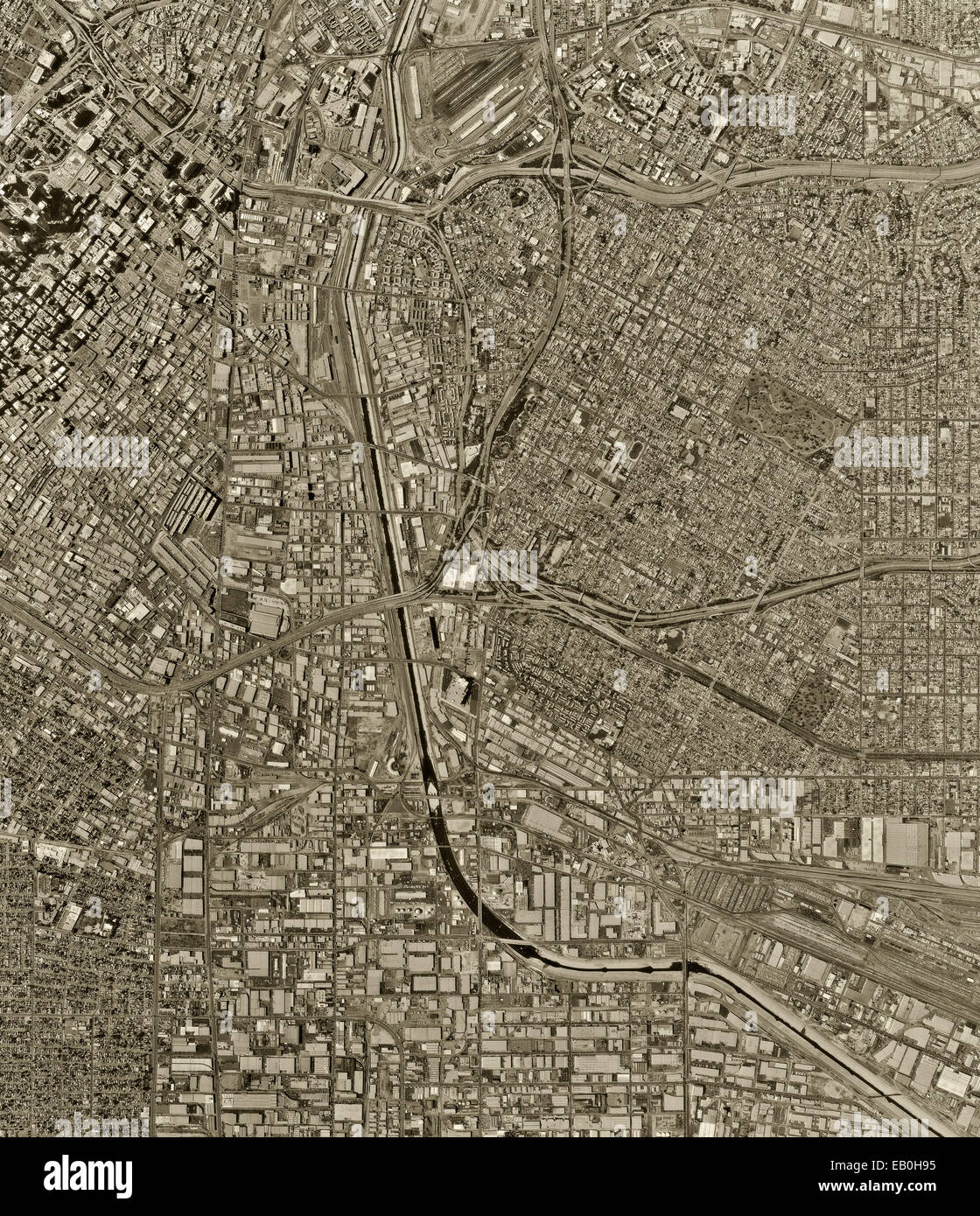 historical aerial photograph Los Angeles, California, 1994 - Stock Image