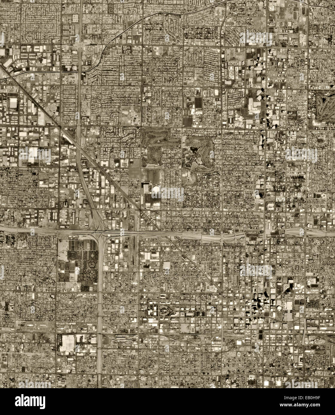 historical aerial photograph of Phoenix, Arizona, 1961 - Stock Image