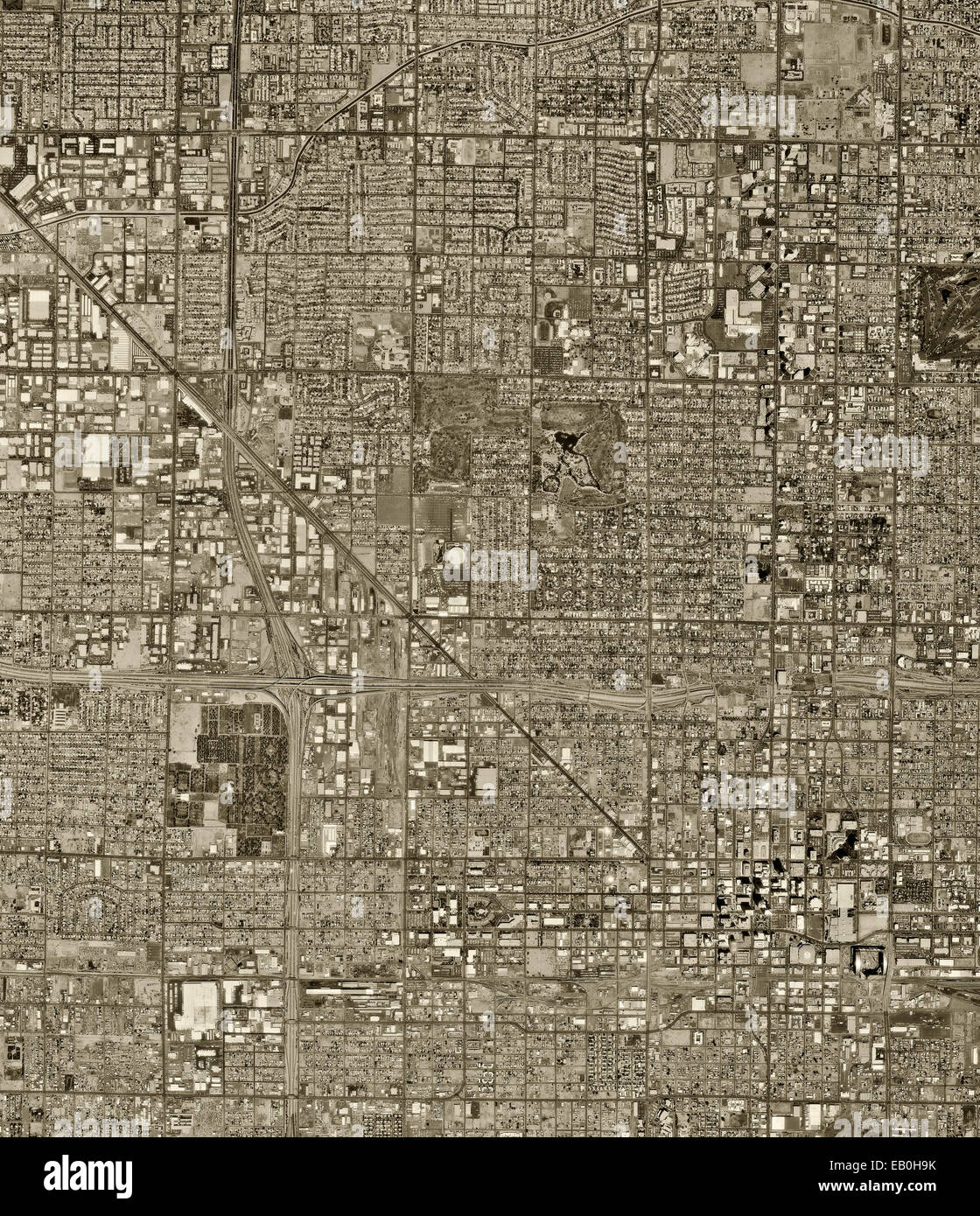 historical aerial photograph of Phoenix, Arizona, 1997 - Stock Image