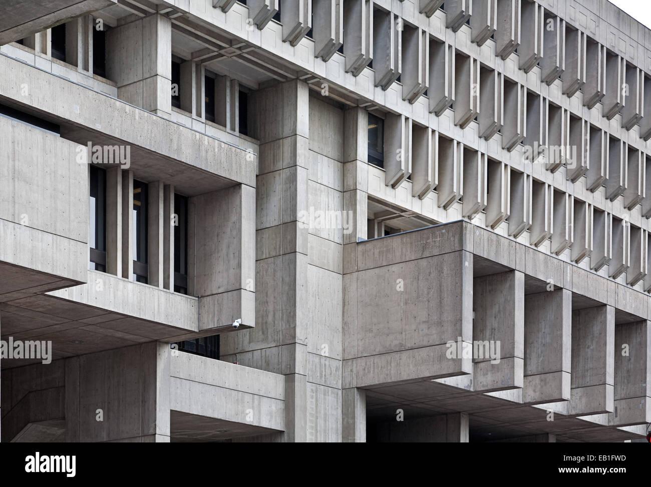 Concrete architectural detail on Boston City Hall - Stock Image