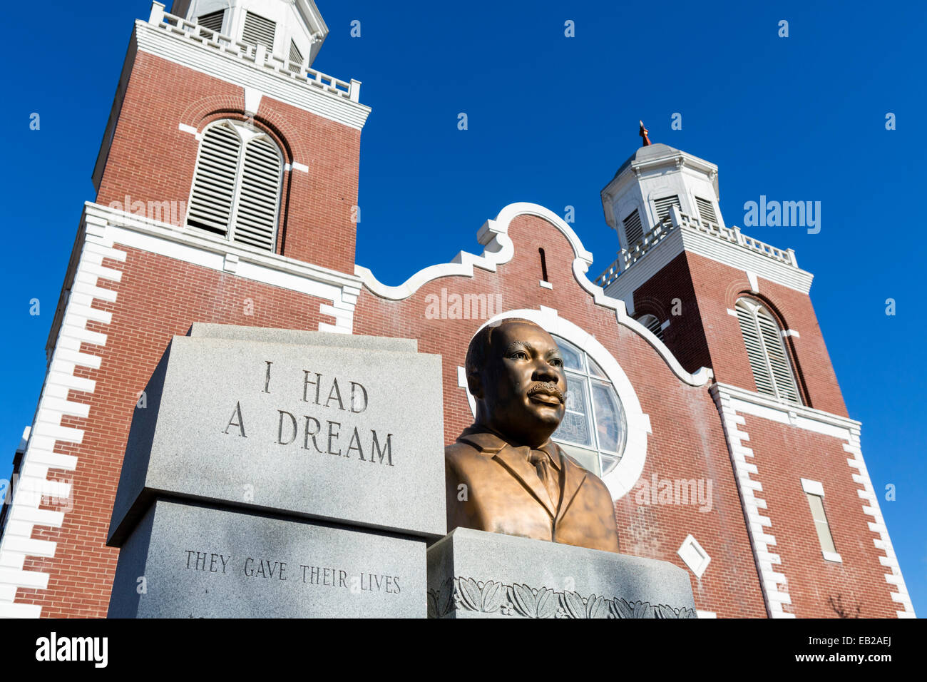 Selma Alabama. Bust of Dr Martin Luther King outside Brown Chapel AME Church, Selma, AL, USA - starting point of - Stock Image