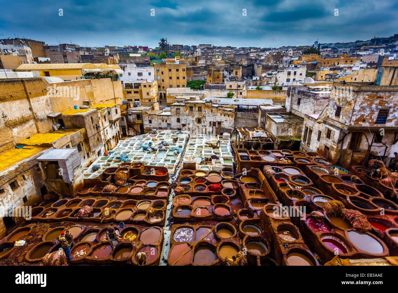 Morocco, Fes, Medina, Tanneries souk - Stock Image
