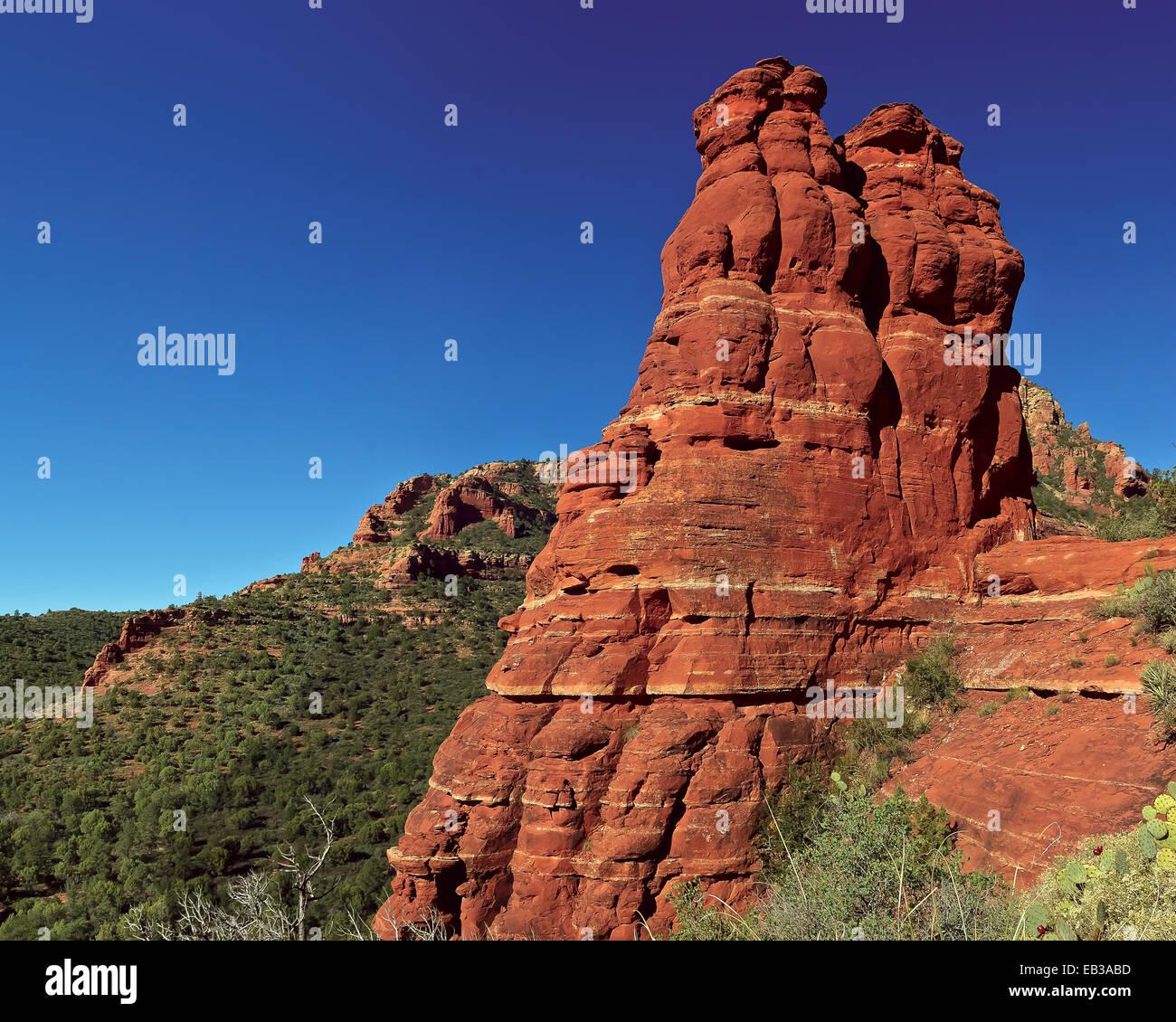 USA, Arizona, Yavapai County, Sedona, Fay Canyon, View of Fay Rock - Stock Image