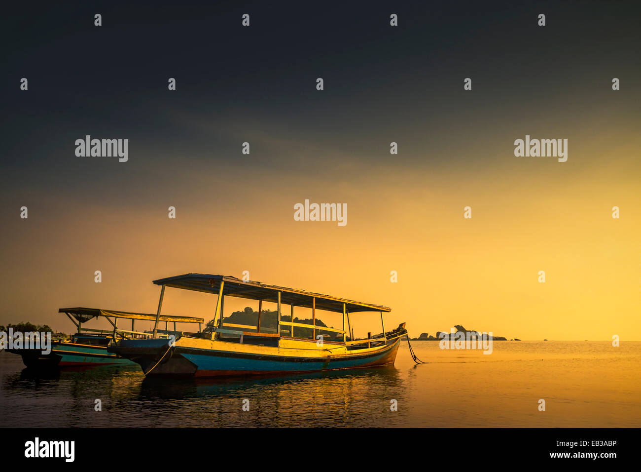 Indonesia, Beitung Island, Traditional boats for island transportation - Stock Image