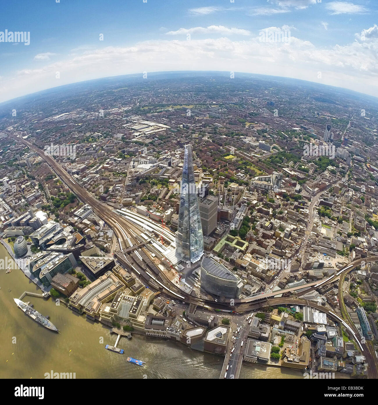 UK, England, Aerial view of Shard in London - Stock Image