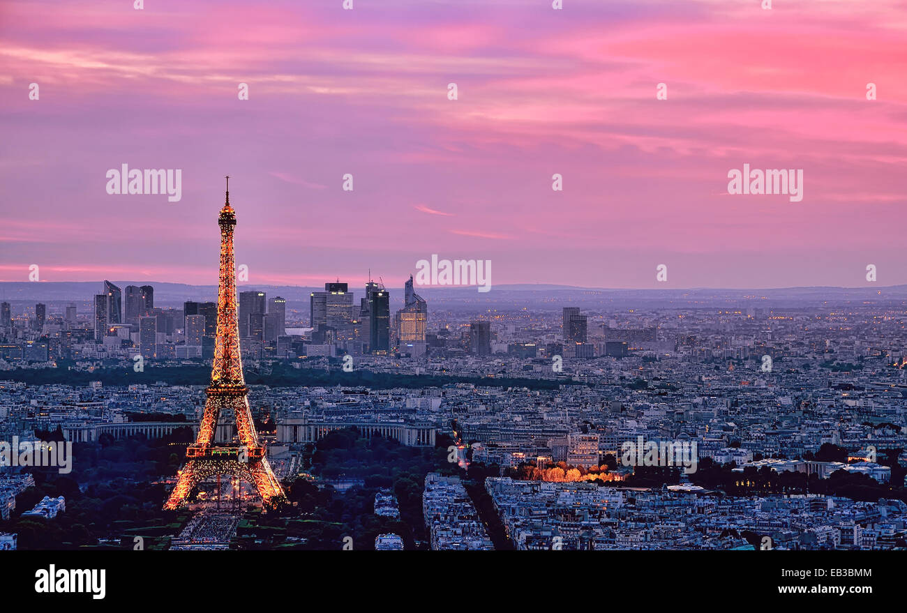 Eiffel Tower and city skyline, Paris, France - Stock Image